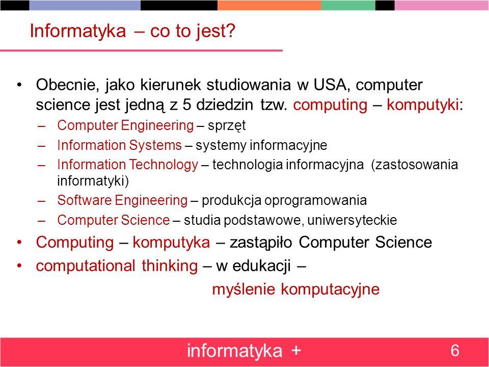 computational thinking – kompetencje budowane na mocy i ograniczeniach komputerowego przetwarzania informacji w różnych dziedzinach.