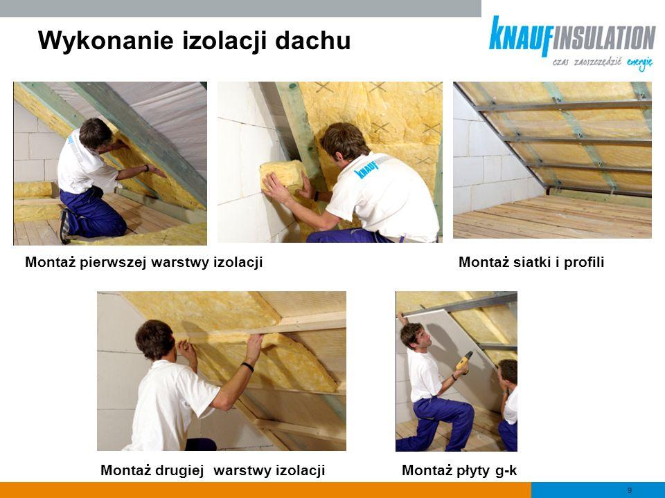9 Wykonanie izolacji dachu Montaż płyty g-k Montaż siatki i profili Montaż drugiej warstwy izolacji Montaż pierwszej warstwy izolacji