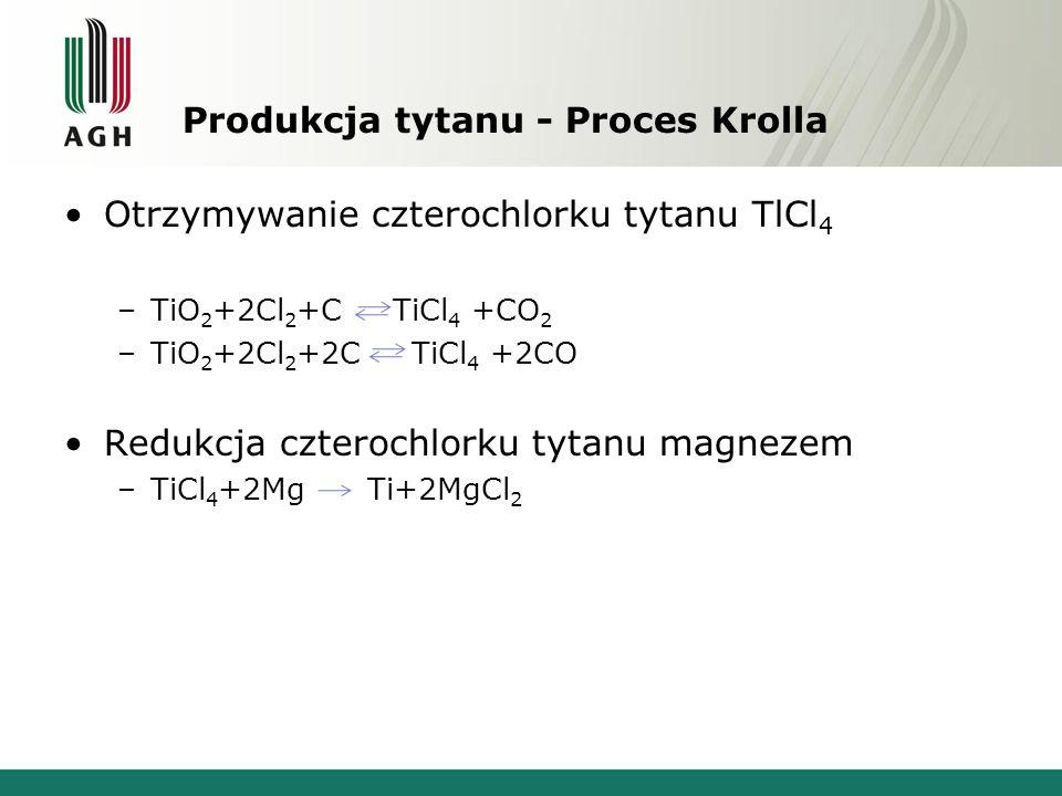 Produkcja tytanu - Proces Krolla Otrzymywanie czterochlorku tytanu TlCl 4 –TiO 2 +2Cl 2 +C TiCl 4 +CO 2 –TiO 2 +2Cl 2 +2C TiCl 4 +2CO Redukcja czteroc