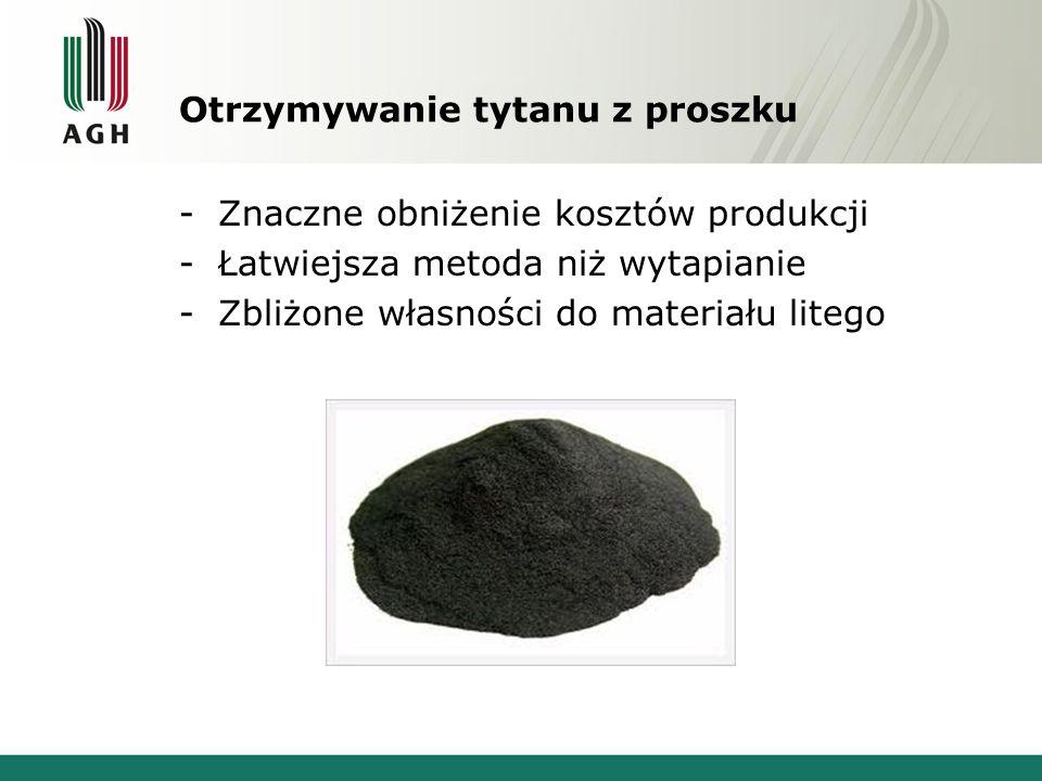Otrzymywanie tytanu z proszku -Znaczne obniżenie kosztów produkcji -Łatwiejsza metoda niż wytapianie -Zbliżone własności do materiału litego