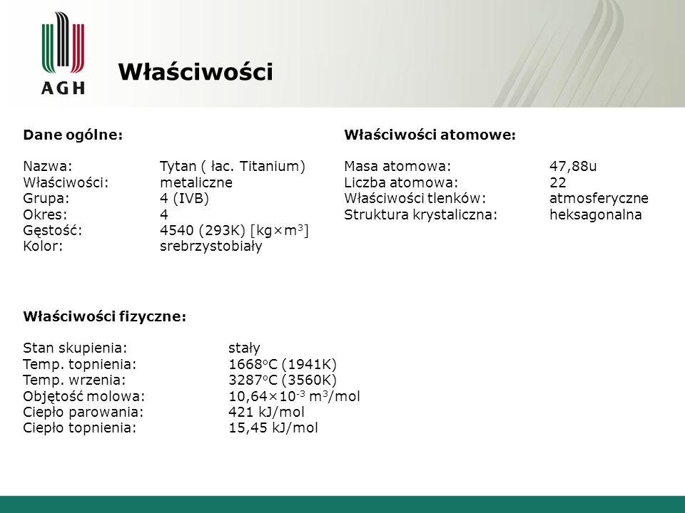 Właściwości Dane ogólne: Nazwa: Tytan ( łac. Titanium) Właściwości: metaliczne Grupa:4 (IVB) Okres:4 Gęstość:4540 (293K) [kg×m 3 ] Kolor:srebrzystobia