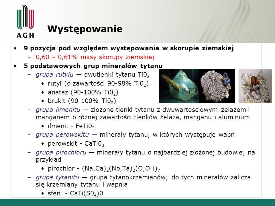 Występowanie 9 pozycja pod względem występowania w skorupie ziemskiej –0,60 – 0,61% masy skorupy ziemskiej 5 podstawowych grup minerałów tytanu –grupa