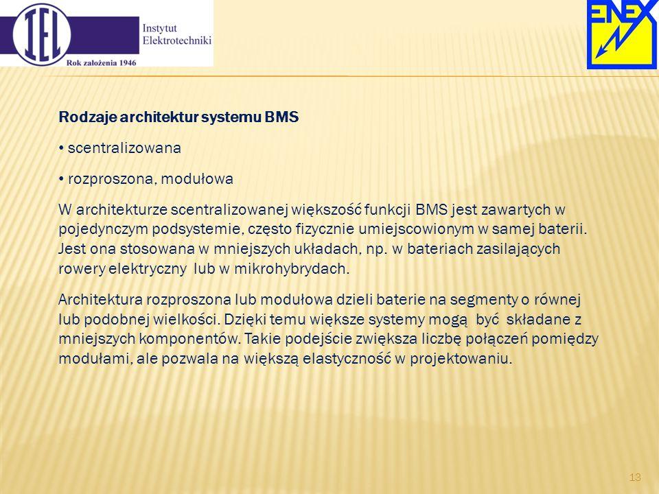 Rodzaje architektur systemu BMS scentralizowana rozproszona, modułowa W architekturze scentralizowanej większość funkcji BMS jest zawartych w pojedync
