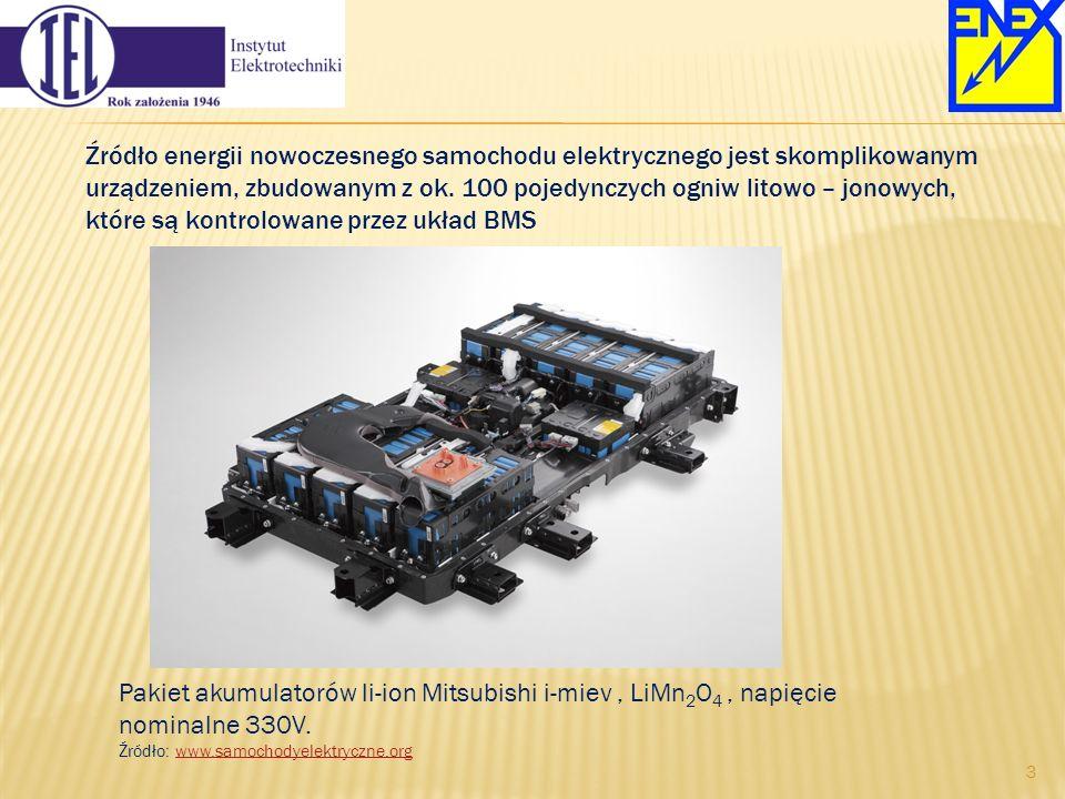 Pakiet akumulatorów li-ion Mitsubishi i-miev, LiMn 2 O 4, napięcie nominalne 330V. Źródło: www.samochodyelektryczne.orgwww.samochodyelektryczne.org Źr