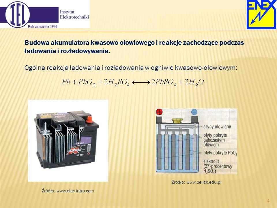 Budowa akumulatora kwasowo-ołowiowego i reakcje zachodzące podczas ładowania i rozładowywania. Ogólna reakcja ładowania i rozładowania w ogniwie kwaso