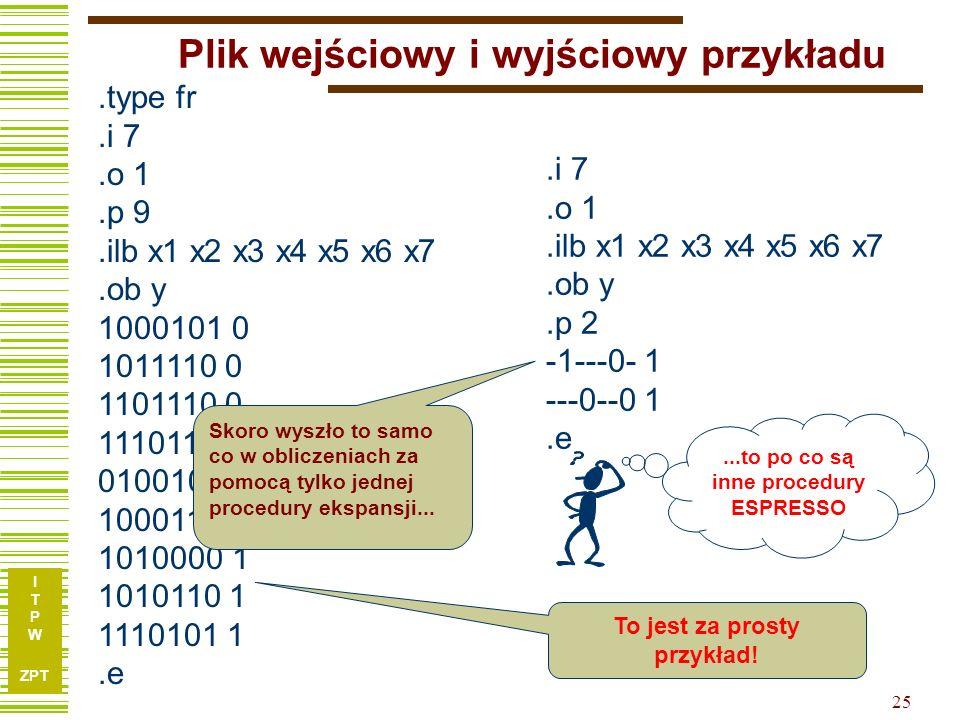 I T P W ZPT 25 Plik wejściowy i wyjściowy przykładu.type fr.i 7.o 1.p 9.ilb x1 x2 x3 x4 x5 x6 x7.ob y 1000101 0 1011110 0 1101110 0 1110111 0 0100101