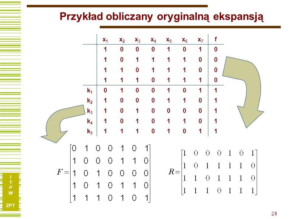 I T P W ZPT 28 Przykład obliczany oryginalną ekspansją x1x1 x2x2 x3x3 x4x4 x5x5 x6x6 x7x7 f 10001010 10111100 11011100 11101110 k1k1 01001011 k2k2 100