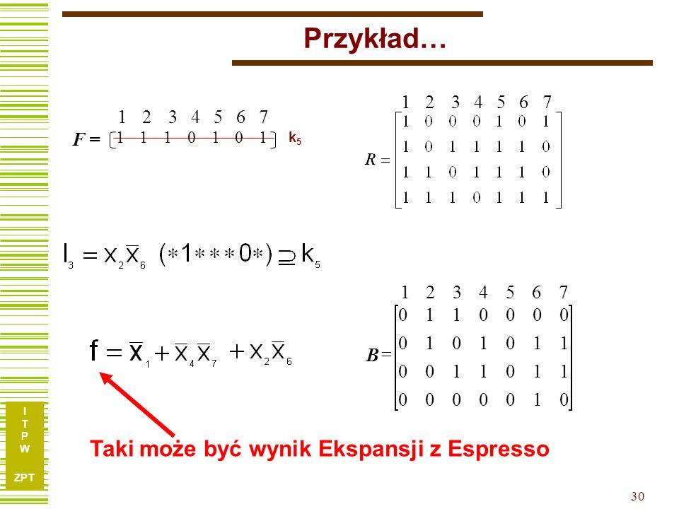 I T P W ZPT 30 0100000 1101100 1101010 0000110 7654321 B 7654321 1110101 k5k5 F = 7654321 Przykład… Taki może być wynik Ekspansji z Espresso