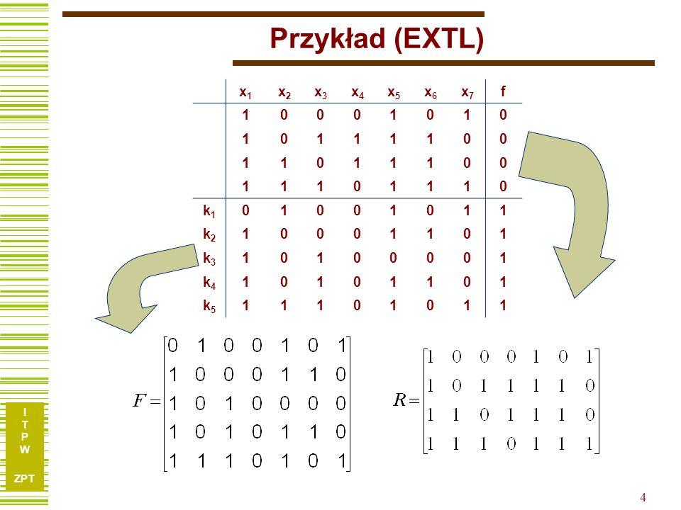 I T P W ZPT 15 Implikanty proste Obliczając kolejno implikanty proste dla każdej k F uzyskuje się: Dla k 1 1 x 74 xx 2 5 x 3 4 74 xx 63 xx 5 62 xx k1k1 k2k2 k3k3 k4k4 k5k5 x1x1 x2x2 x3x3 x4x4 x5x5 x6x6 x7x7 f 10001010 10111100 11011100 11101110 01001011 10001101 10100001 10101101 11101011