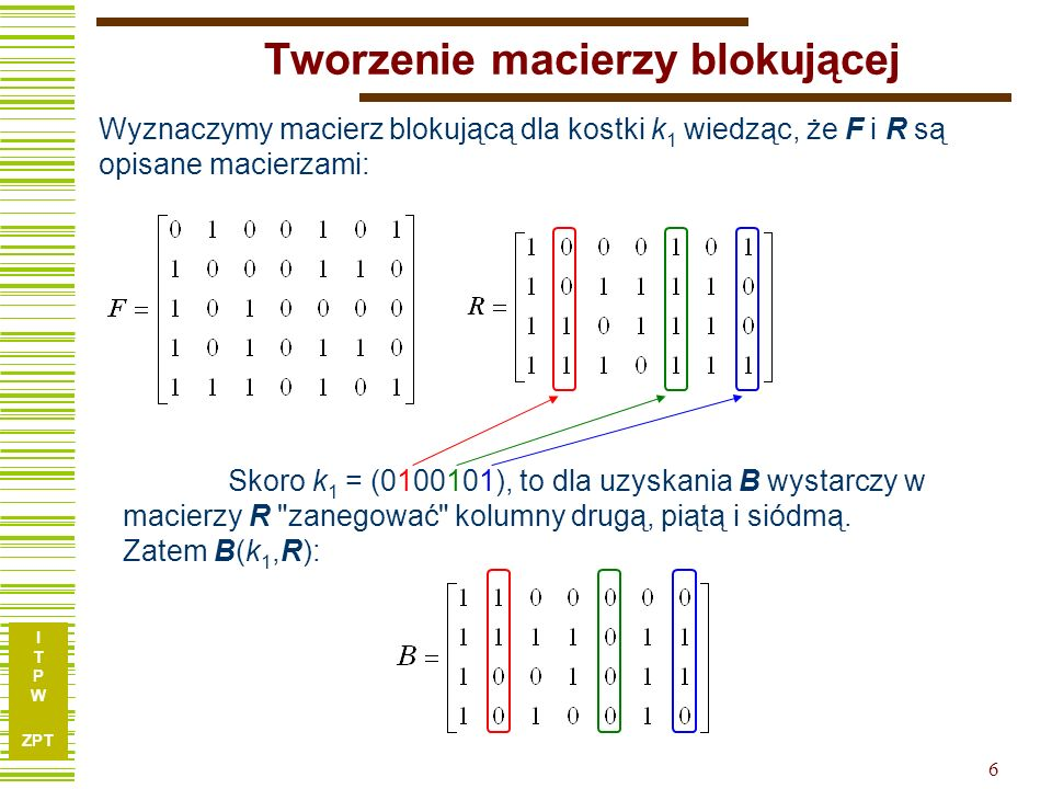 I T P W ZPT 6 Tworzenie macierzy blokującej Wyznaczymy macierz blokującą dla kostki k 1 wiedząc, że F i R są opisane macierzami: Skoro k 1 = (0100101)