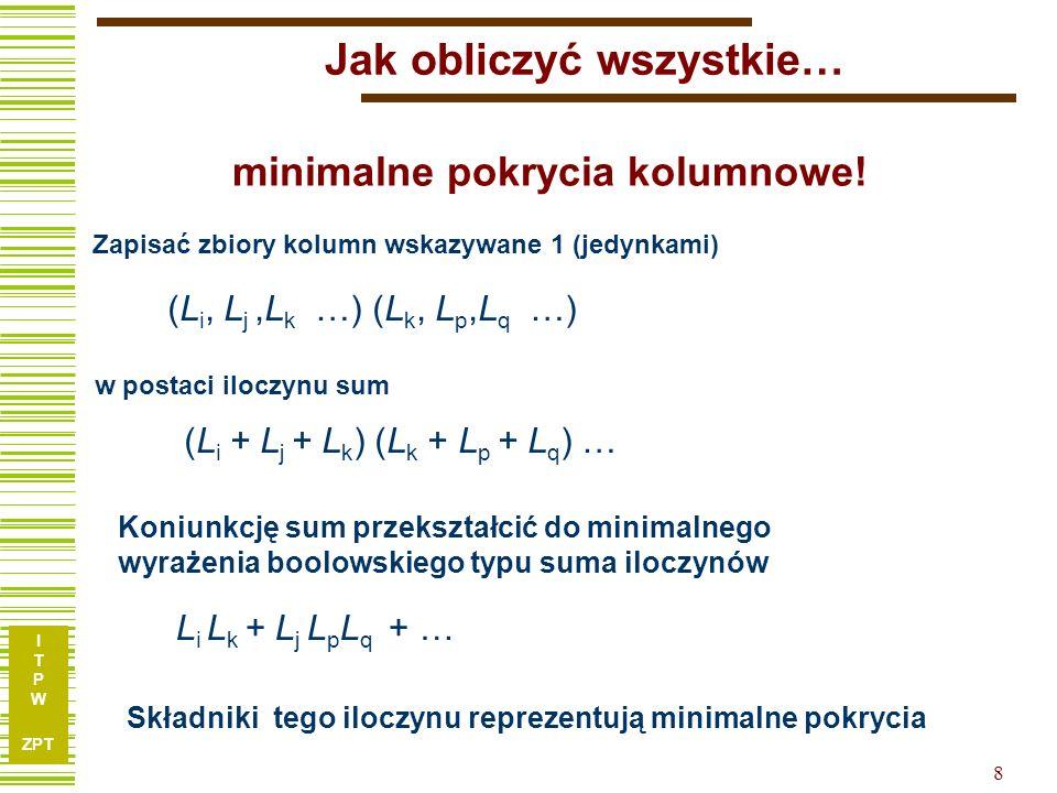 I T P W ZPT 19 Tablica implikantów prostych I1I1 I2I2 I3I3 I4I4 I5I5 k1k1 k2k2 k3k3 k4k4 k5k5 Korzystając z informacji jakie wektory (kostki) funkcji pierwotnej pokrywają poszczególne implikanty tworzymy tablicę implikantów prostych: 1 0 0 0 0 0 0 1 0 0 0 1 1 1 0 10 00 01 00 11 W tablicy tej wiersze reprezentują: kostki funkcji pierwotnej, a kolumny – implikanty (kostki po ekspansji).
