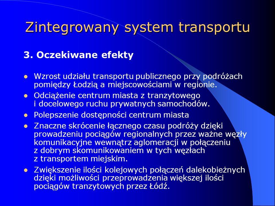 Zintegrowany system transportu Wzrost udziału transportu publicznego przy podróżach pomiędzy Łodzią a miejscowościami w regionie.