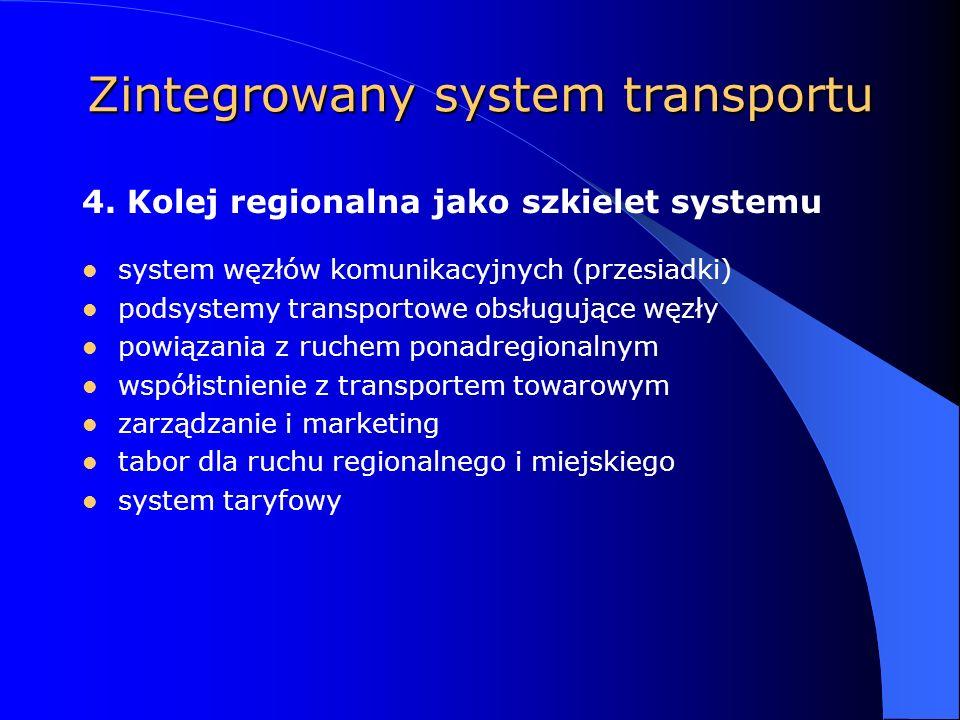 Zintegrowany system transportu system węzłów komunikacyjnych (przesiadki) podsystemy transportowe obsługujące węzły powiązania z ruchem ponadregionalnym współistnienie z transportem towarowym zarządzanie i marketing tabor dla ruchu regionalnego i miejskiego system taryfowy 4.