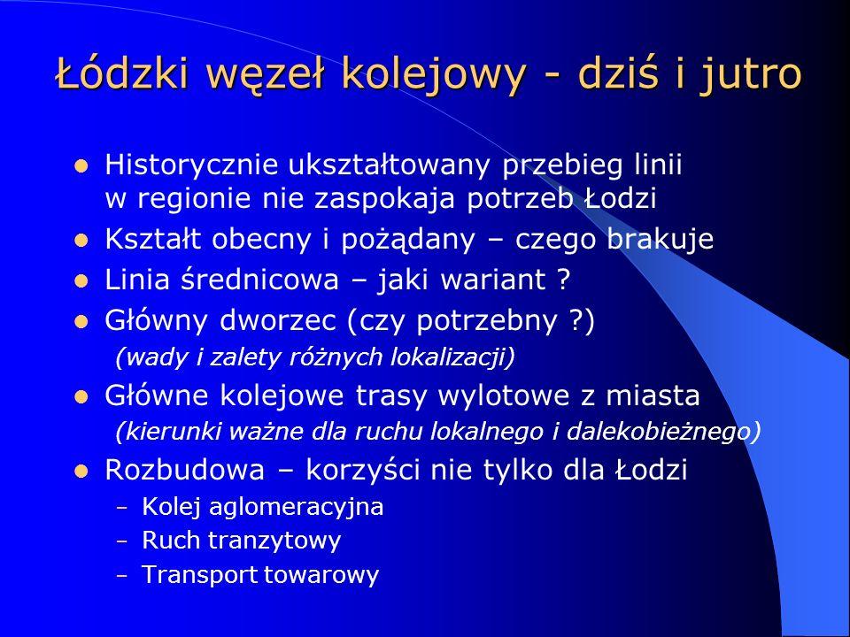 Łódzki węzeł kolejowy - dziś i jutro Historycznie ukształtowany przebieg linii w regionie nie zaspokaja potrzeb Łodzi Kształt obecny i pożądany – czego brakuje Linia średnicowa – jaki wariant .