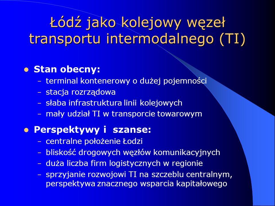 Łódź jako kolejowy węzeł transportu intermodalnego (TI) Stan obecny: – terminal kontenerowy o dużej pojemności – stacja rozrządowa – słaba infrastruktura linii kolejowych – mały udział TI w transporcie towarowym Perspektywy i szanse: – centralne położenie Łodzi – bliskość drogowych węzłów komunikacyjnych – duża liczba firm logistycznych w regionie – sprzyjanie rozwojowi TI na szczeblu centralnym, perspektywa znacznego wsparcia kapitałowego