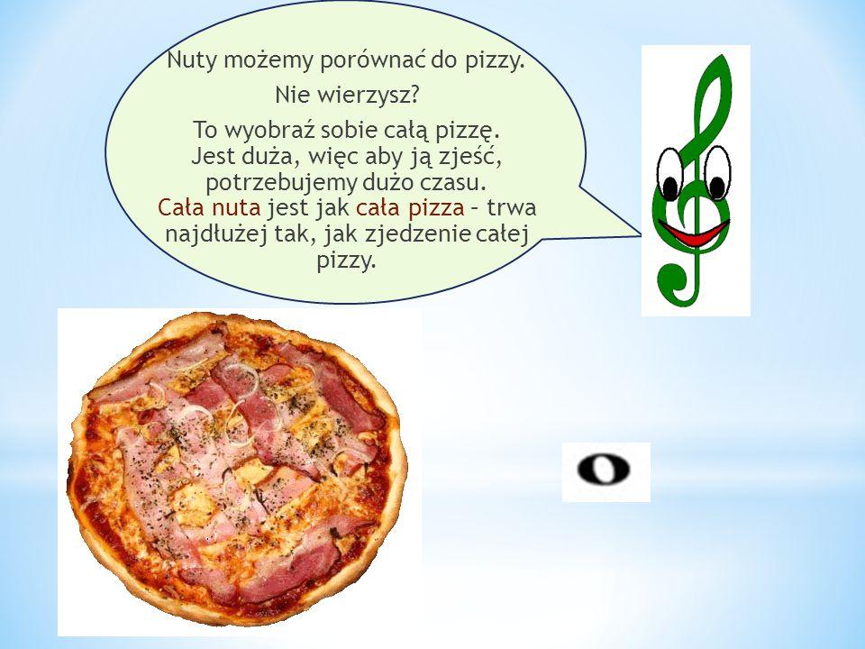 Nuty możemy porównać do pizzy. Nie wierzysz? To wyobraź sobie całą pizzę. Jest duża, więc aby ją zjeść, potrzebujemy dużo czasu. Cała nuta jest jak ca