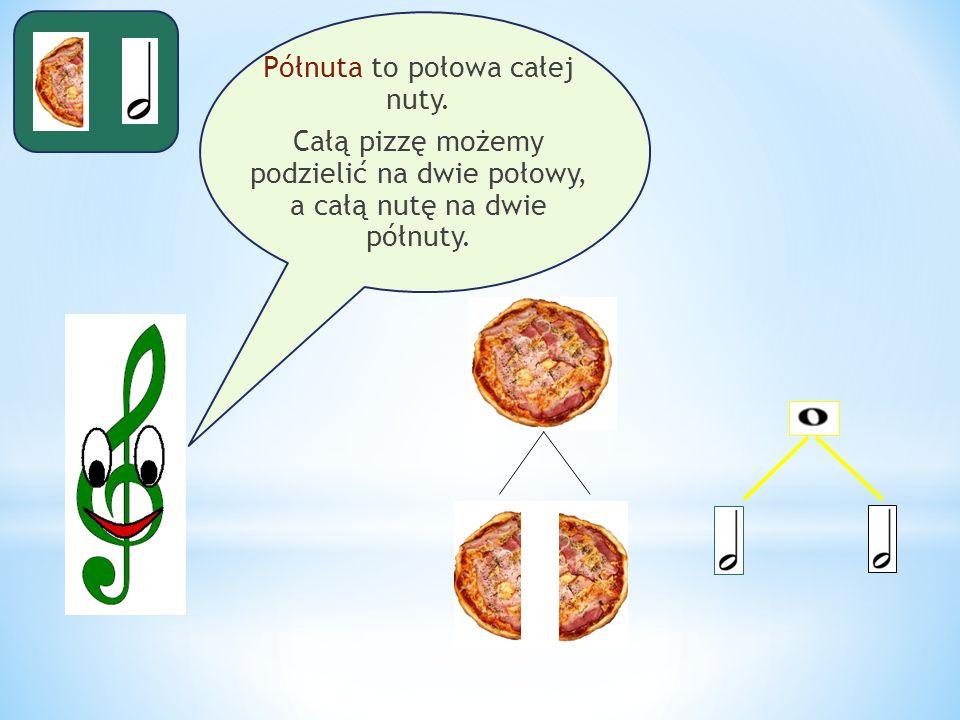 Półnuta to połowa całej nuty. Całą pizzę możemy podzielić na dwie połowy, a całą nutę na dwie półnuty.