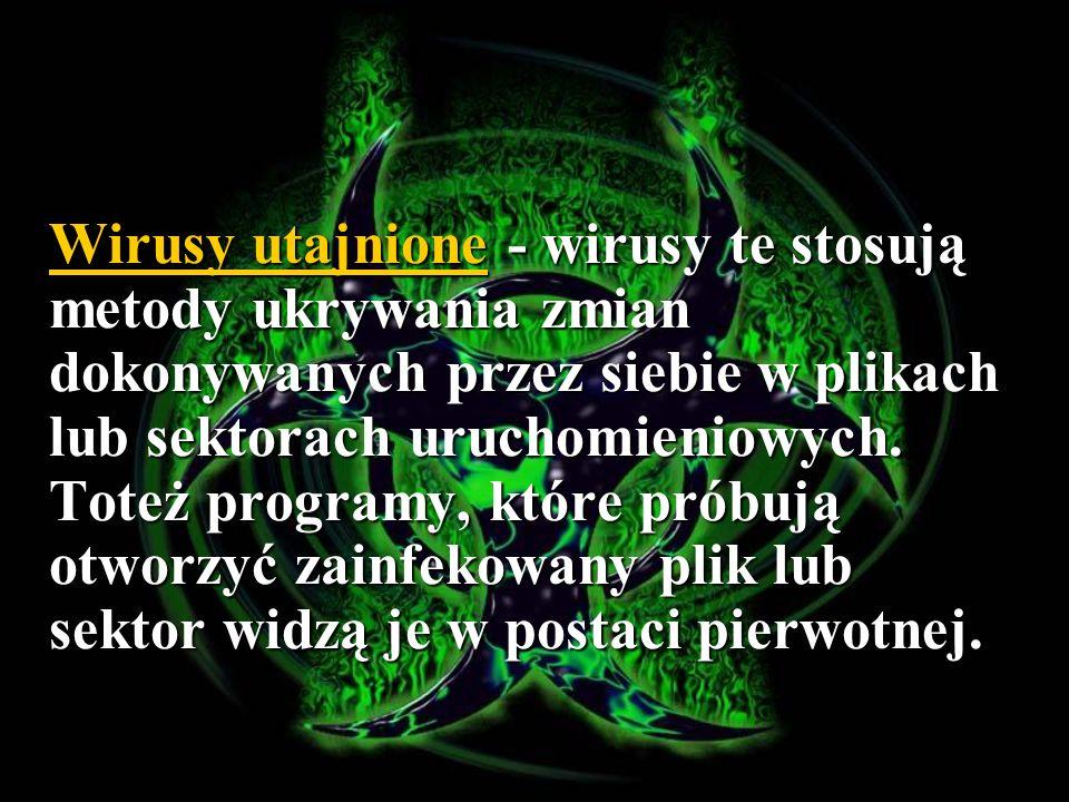 Przykłady oprogramowania antywirusowego AVG AVG Avast Avast MKS VIR MKS VIR Arca Vir Arca Vir AntiVirenKit AntiVirenKit Panda Panda