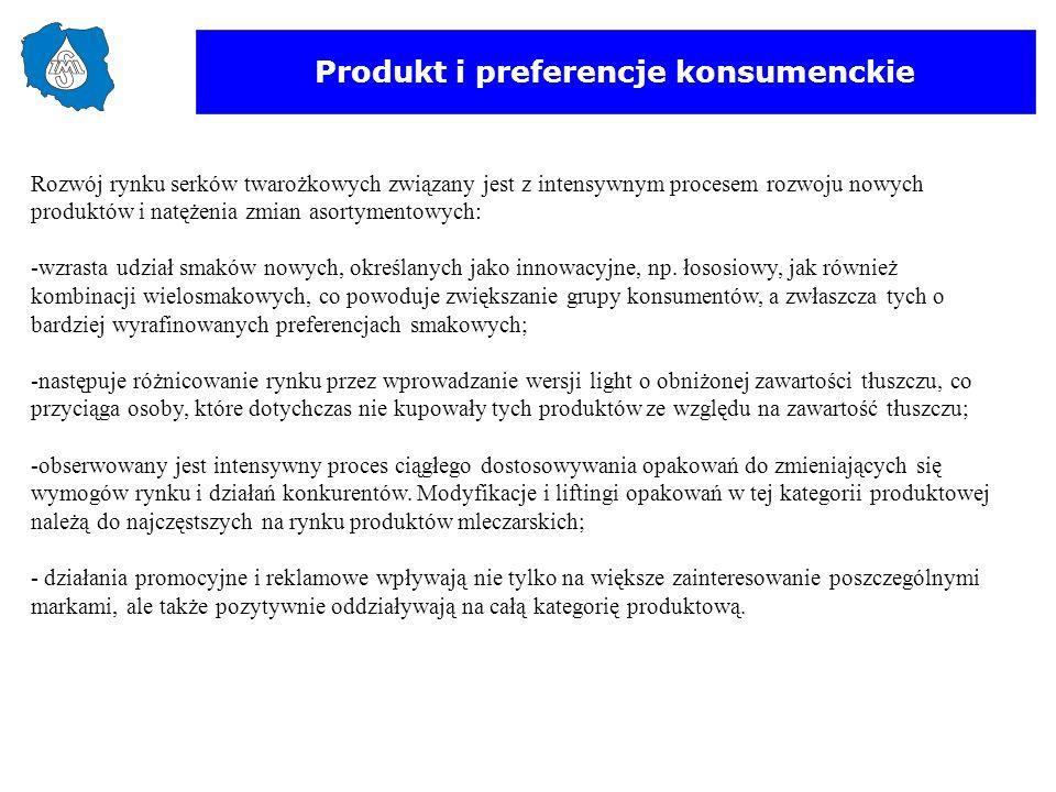 Produkt i preferencje konsumenckie Rozwój rynku serków twarożkowych związany jest z intensywnym procesem rozwoju nowych produktów i natężenia zmian as