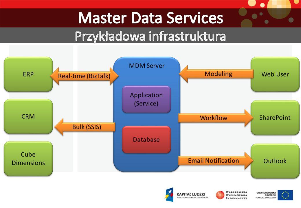 ERP CRM Cube Dimensions Web User SharePoint Outlook MDM Server Application (Service) Application (Service) Database Real-time (BizTalk) Bulk (SSIS) Mo