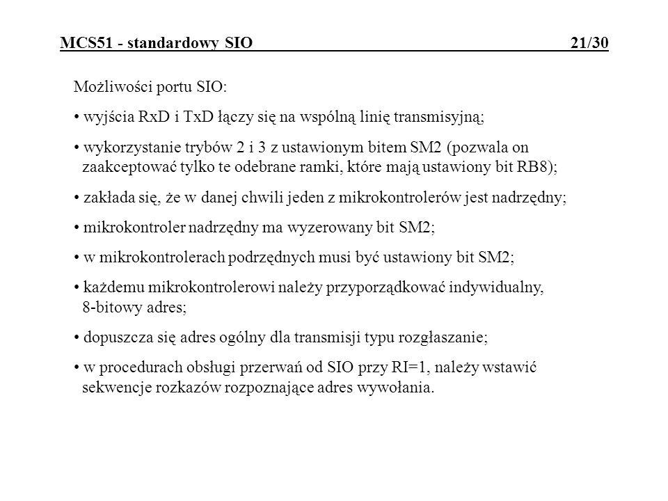 MCS51 - standardowy SIO 21/30 Możliwości portu SIO: wyjścia RxD i TxD łączy się na wspólną linię transmisyjną; wykorzystanie trybów 2 i 3 z ustawionym