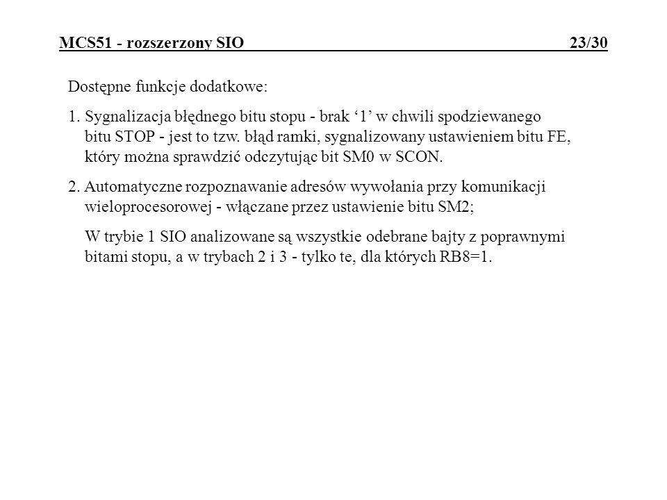 MCS51 - rozszerzony SIO 23/30 Dostępne funkcje dodatkowe: 1. Sygnalizacja błędnego bitu stopu - brak 1 w chwili spodziewanego bitu STOP - jest to tzw.