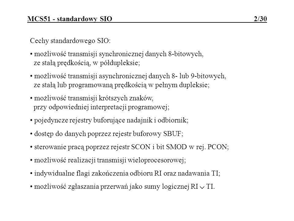 MCS51 - standardowy SIO 2/30 Cechy standardowego SIO: możliwość transmisji synchronicznej danych 8-bitowych, ze stałą prędkością, w półdupleksie; możl
