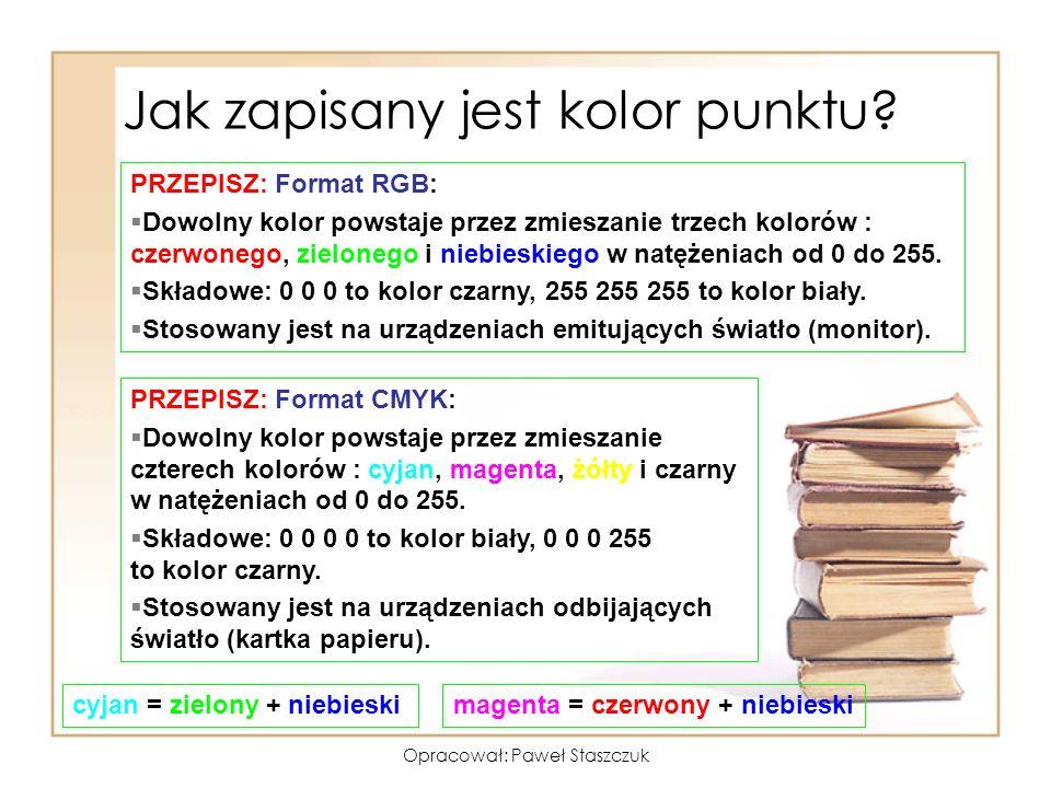 Opracował: Paweł Staszczuk Jak zapisany jest kolor punktu? PRZEPISZ: Format RGB: §Dowolny kolor powstaje przez zmieszanie trzech kolorów : czerwonego,