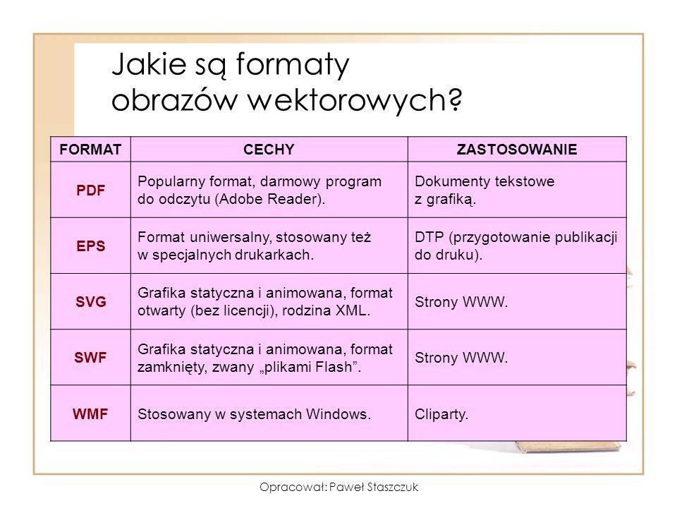 Opracował: Paweł Staszczuk Jakie są formaty obrazów wektorowych? FORMATCECHYZASTOSOWANIE PDF Popularny format, darmowy program do odczytu (Adobe Reade