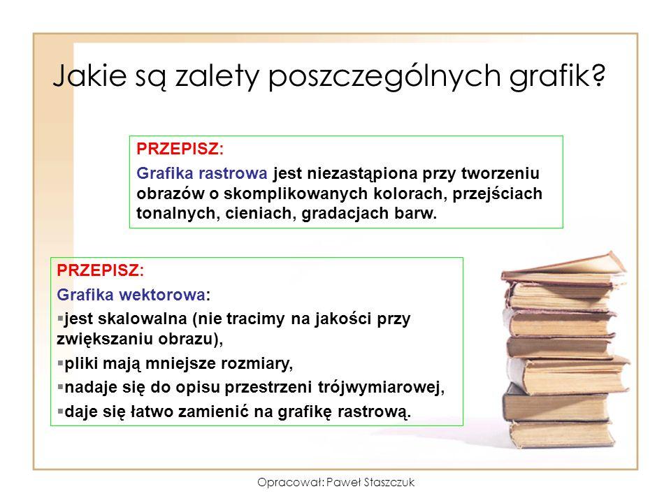 Opracował: Paweł Staszczuk Jakie są zalety poszczególnych grafik? PRZEPISZ: Grafika rastrowa jest niezastąpiona przy tworzeniu obrazów o skomplikowany
