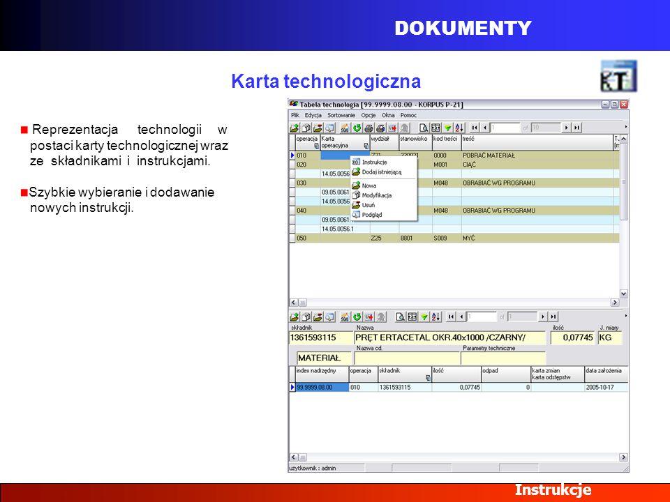 DOKUMENTY Instrukcje Karta technologiczna Reprezentacja technologii w postaci karty technologicznej wraz ze składnikami i instrukcjami. Szybkie wybier