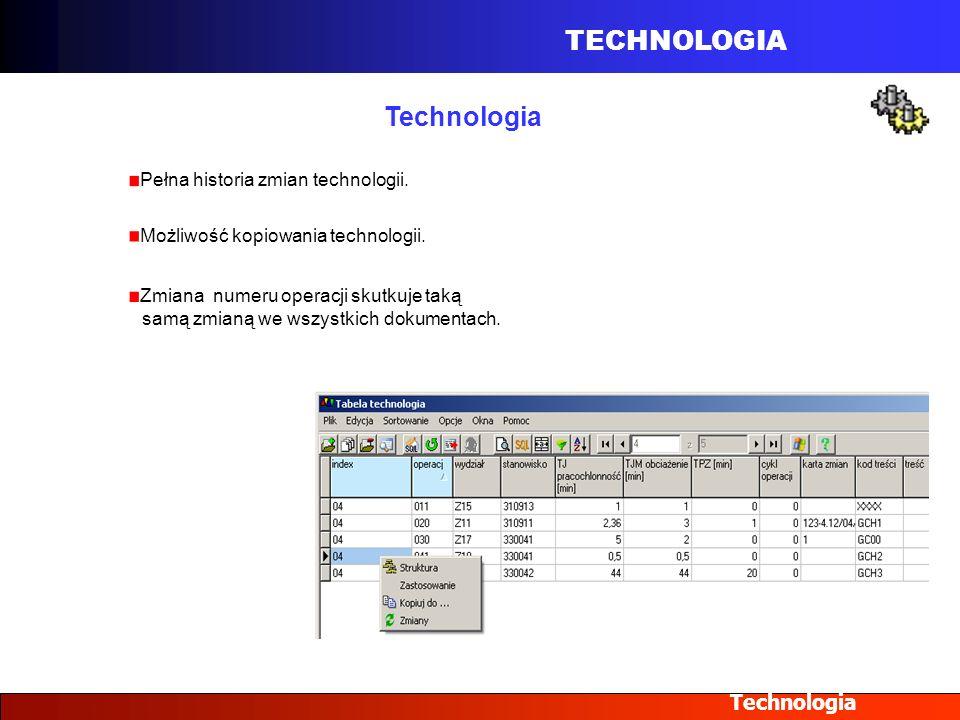 TECHNOLOGIA Technologia Pełna historia zmian technologii. Możliwość kopiowania technologii. Zmiana numeru operacji skutkuje taką samą zmianą we wszyst