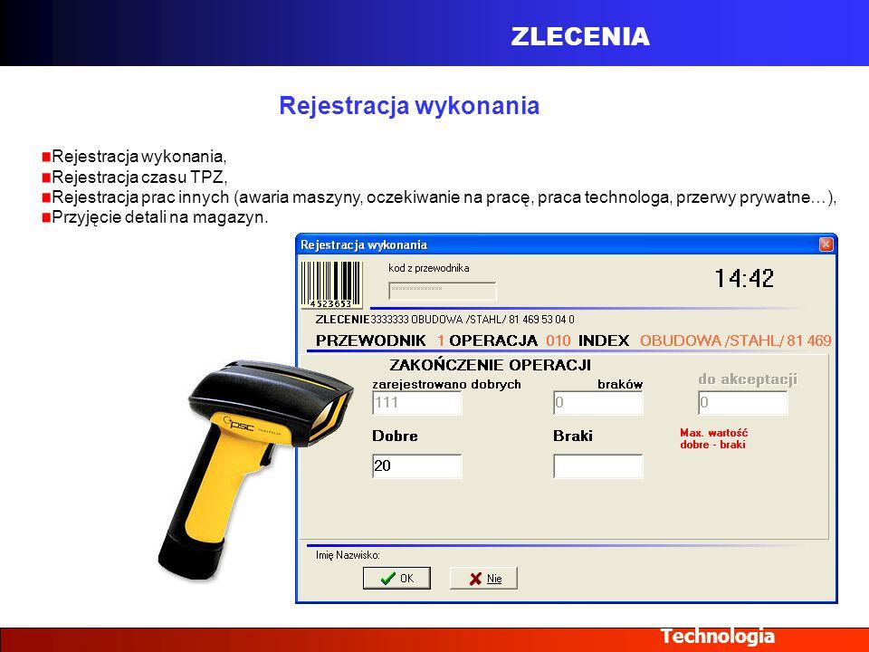 ZLECENIA Technologia Rejestracja wykonania Rejestracja wykonania, Rejestracja czasu TPZ, Rejestracja prac innych (awaria maszyny, oczekiwanie na pracę