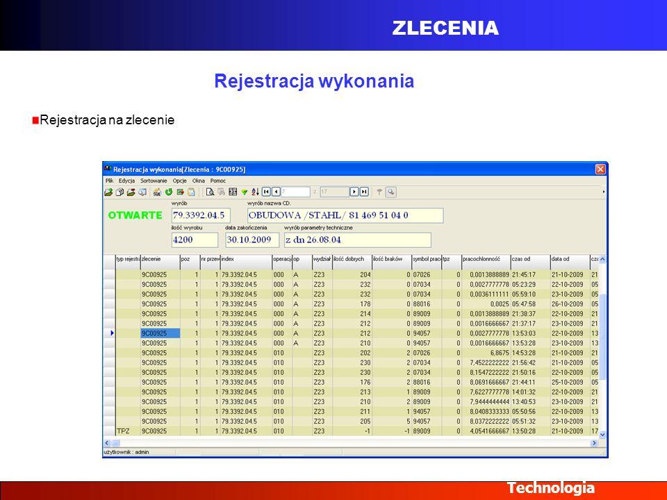 ZLECENIA Technologia Rejestracja wykonania Rejestracja na zlecenie