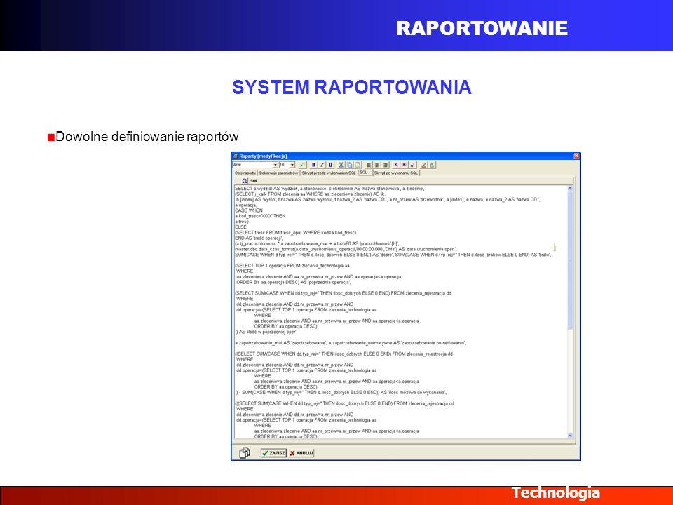 RAPORTOWANIE Technologia SYSTEM RAPORTOWANIA Dowolne definiowanie raportów