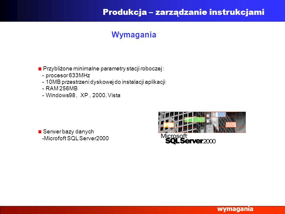 wymagania Wymagania Produkcja – zarządzanie instrukcjami Przybliżone minimalne parametry stacji roboczej : - procesor 633MHz - 10MB przestrzeni dyskow