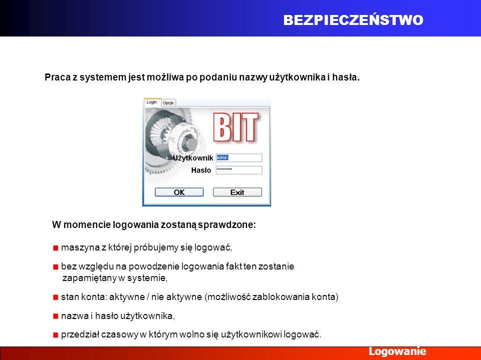 BEZPIECZEŃSTWO Logowanie Praca z systemem jest możliwa po podaniu nazwy użytkownika i hasła. W momencie logowania zostaną sprawdzone: maszyna z której