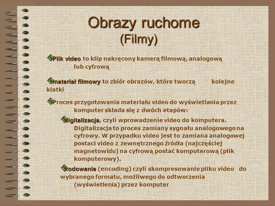 Rozmiary plików video W standardzie PAL ( standard obrazu telewizyjnego w Europie ) klatka filmu ma: rozdzielczość 720 x 576 pixeli oraz 16 bitową głębię kolorów 1 sekunda filmu: 1 sekunda filmu: 720 x 576 x 2 bajty = 82 944 bajty = 0,79 MB 1 minuta filmu: 1,2GB 20 MB x 60 sekund = 1200 MB = 1,2 GB 0,79 MB x 25 klatek = 19,77 MB