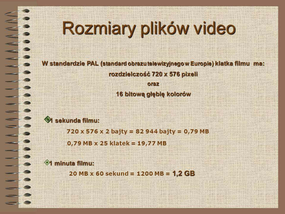 Kodowanie plików video Przystosowanie filmu do odtwarzania na komputerze to przygotowanie odpowiedniego pliku komputerowego.
