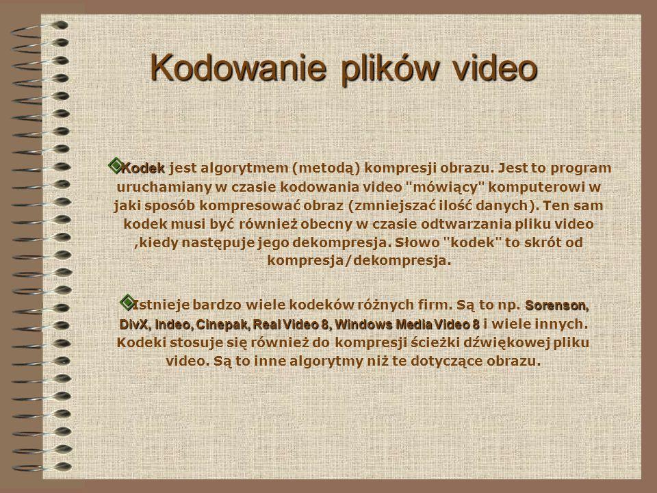 Kodowanie plików video Kodek Kodek jest algorytmem (metodą) kompresji obrazu.