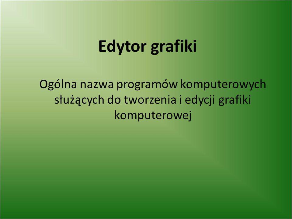 Edytor grafiki Ogólna nazwa programów komputerowych służących do tworzenia i edycji grafiki komputerowej