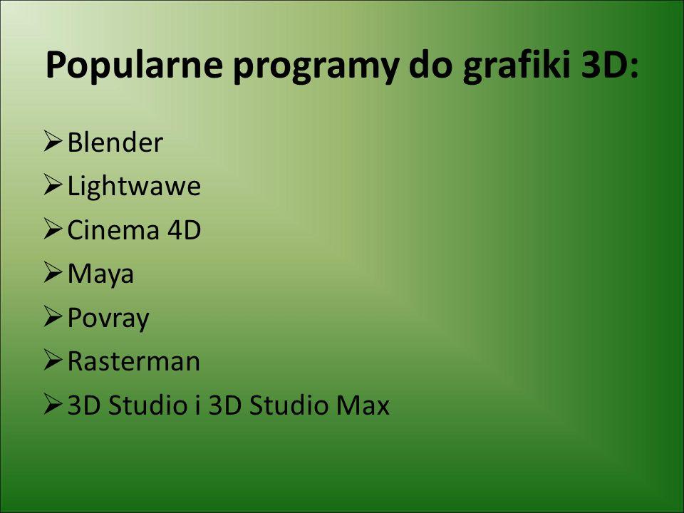 Popularne programy do grafiki 3D: Blender Lightwawe Cinema 4D Maya Povray Rasterman 3D Studio i 3D Studio Max