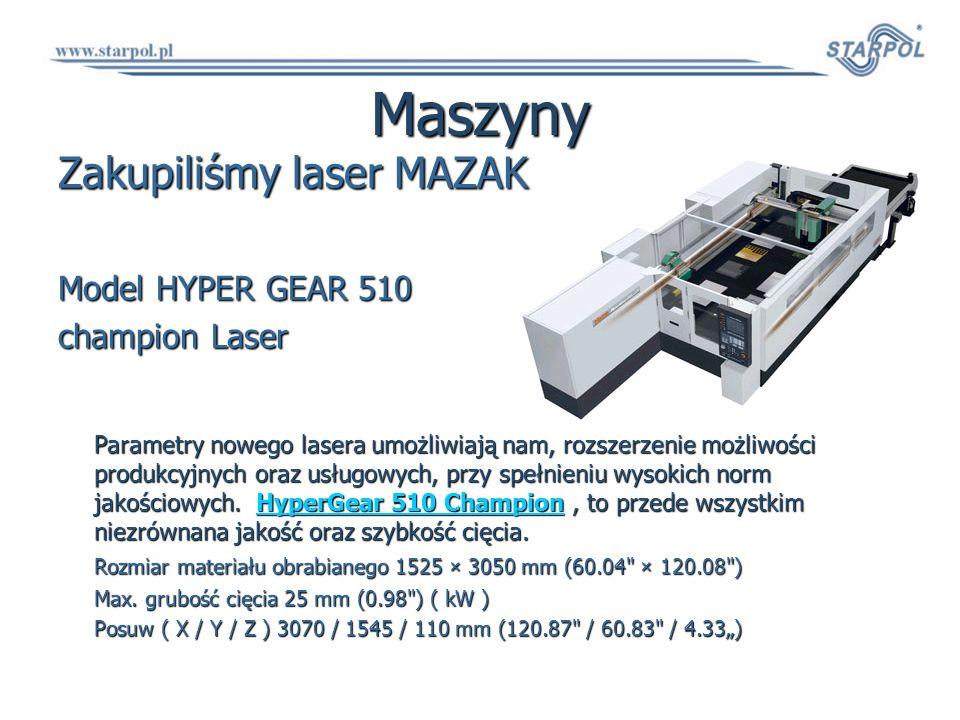 Maszyny Zakupiliśmy laser MAZAK Model HYPER GEAR 510 champion Laser Parametry nowego lasera umożliwiają nam, rozszerzenie możliwości produkcyjnych ora