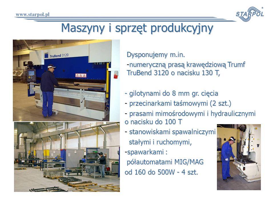 Maszyny i sprzęt produkcyjny Dysponujemy m.in. -numeryczną prasą krawędziową Trumf TruBend 3120 o nacisku 130 T, - gilotynami do 8 mm gr. cięcia - prz