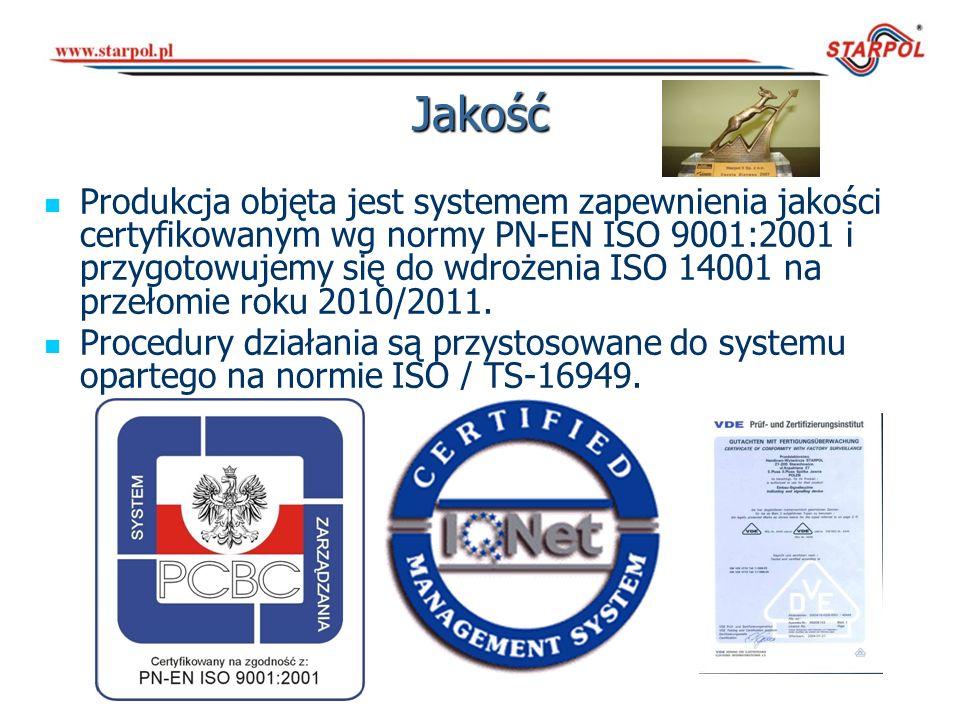 Jakość Produkcja objęta jest systemem zapewnienia jakości certyfikowanym wg normy PN-EN ISO 9001:2001 i przygotowujemy się do wdrożenia ISO 14001 na p