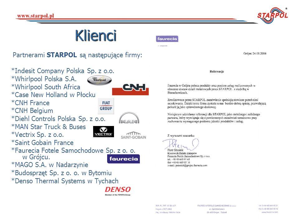 Klienci Partnerami STARPOL są następujące firmy: *Indesit Company Polska Sp. z o.o. *Whirlpool Polska S.A. *Whirlpool South Africa *Case New Holland w