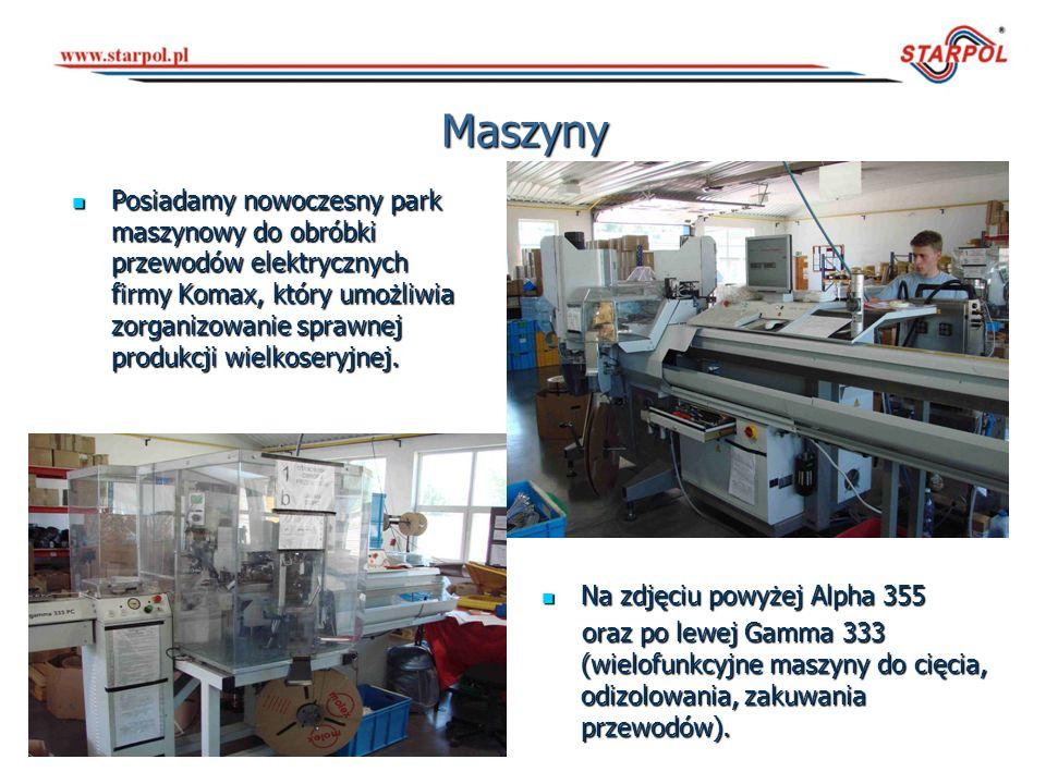 Maszyny Posiadamy nowoczesny park maszynowy do obróbki przewodów elektrycznych firmy Komax, który umożliwia zorganizowanie sprawnej produkcji wielkose