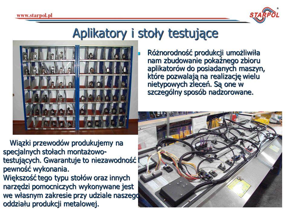 Aplikatory i stoły testujące Różnorodność produkcji umożliwiła nam zbudowanie pokaźnego zbioru aplikatorów do posiadanych maszyn, które pozwalają na r