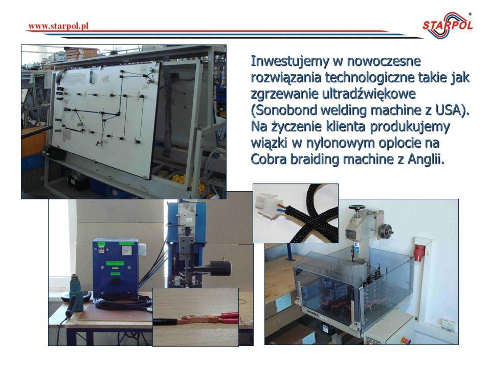 Inwestujemy w nowoczesne rozwiązania technologiczne takie jak zgrzewanie ultradźwiękowe (Sonobond welding machine z USA). Na życzenie klienta produkuj