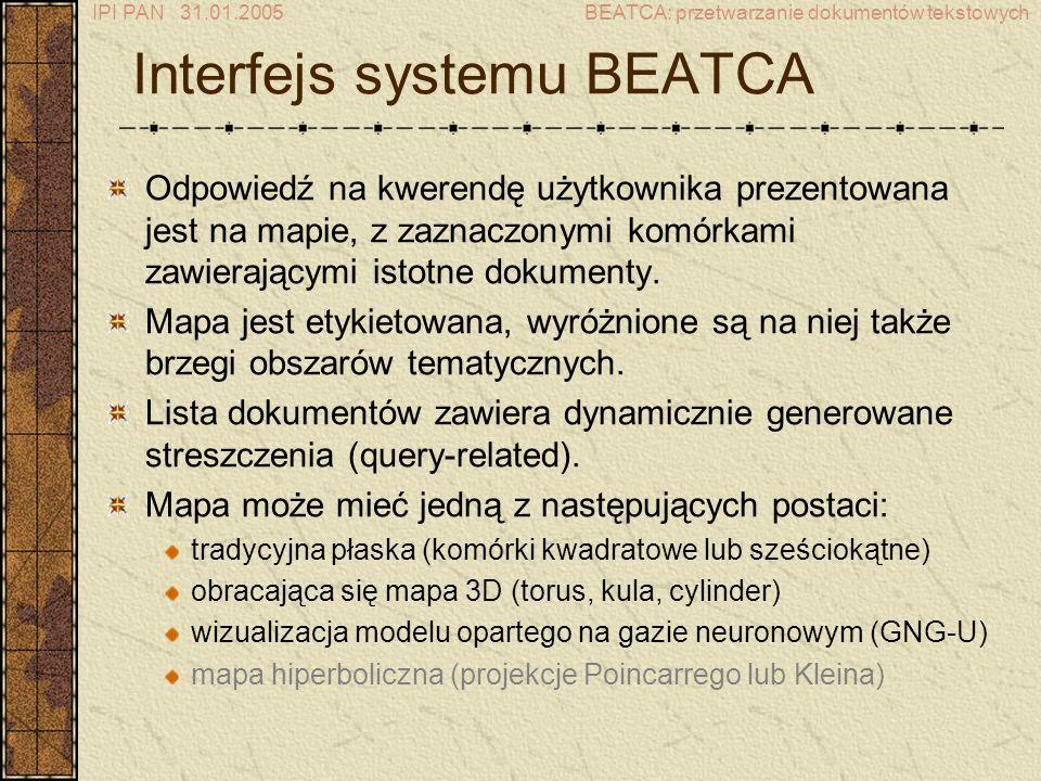 IPI PAN 31.01.2005BEATCA: przetwarzanie dokumentów tekstowych Interfejs systemu BEATCA Odpowiedź na kwerendę użytkownika prezentowana jest na mapie, z zaznaczonymi komórkami zawierającymi istotne dokumenty.